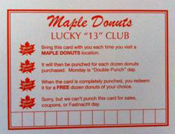 maple donuts lucky 13 club card