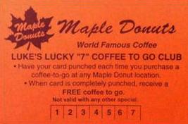 luke's lucky 7 coffee to go club card
